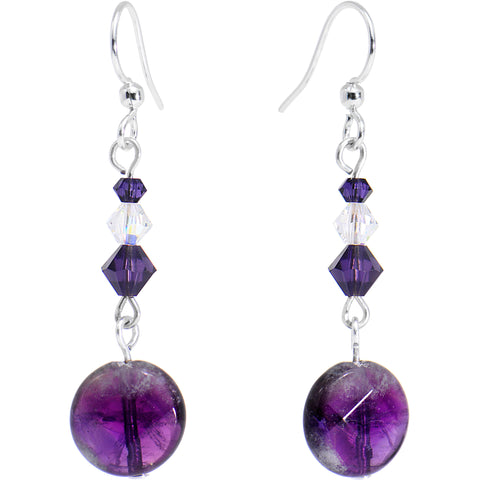 Handcrafted Amethyst Dangle Earrings Created with Swarovski Crystals