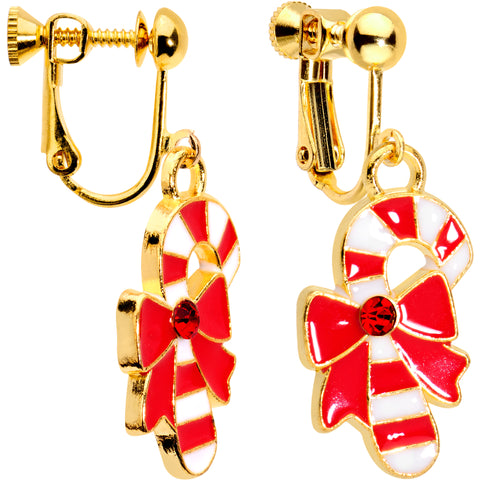 Red CZ Gem Gold Plated Bow Candy Cane Clip On Earrings