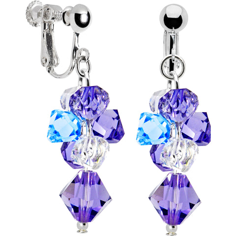 Handcrafted Blue Gem Clip Earrings Created with Swarovski Crystals