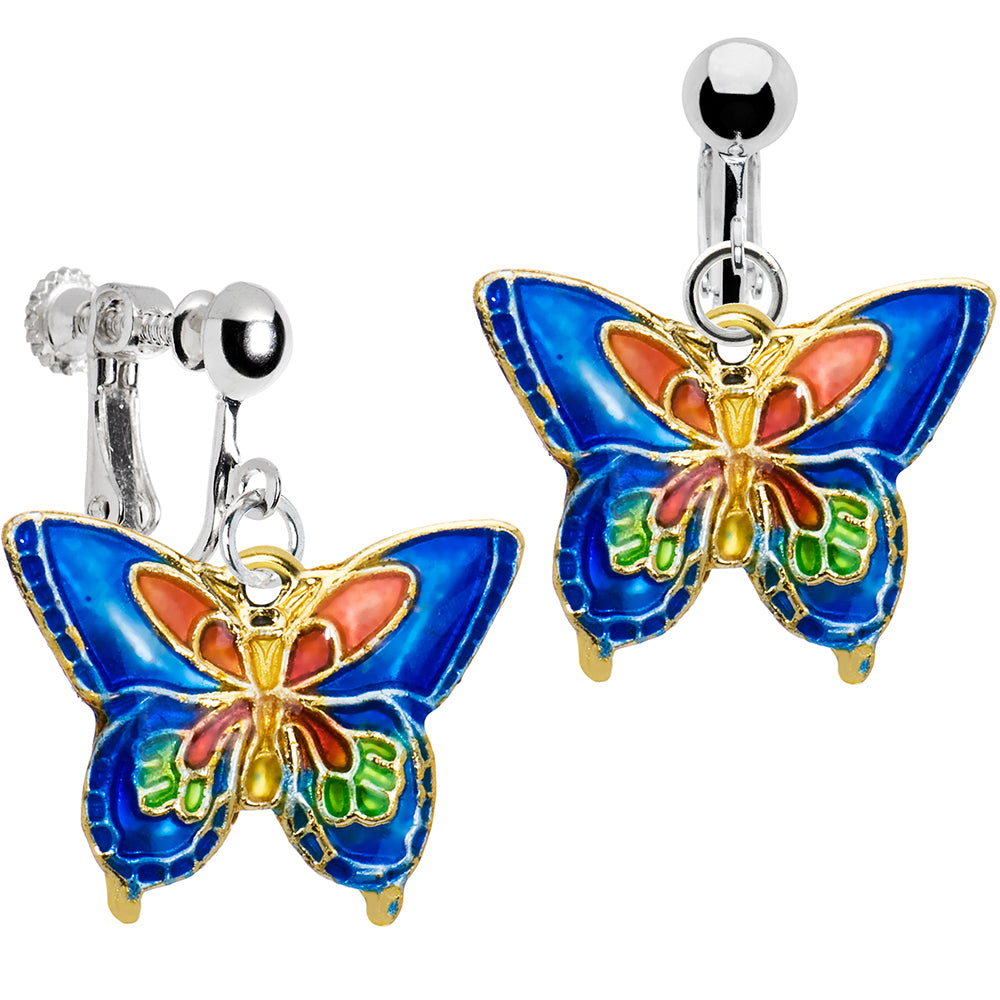 Handcrafted Silver Plated Blue Cloisonne Butterfly Clip On Earrings