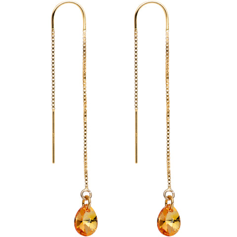 Orange Gem 14KT Gold Threader Earrings Created with Swarovksi Crystals