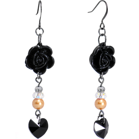Handcrafted Black Rose Heart Earrings Created with Swarovski Crystals