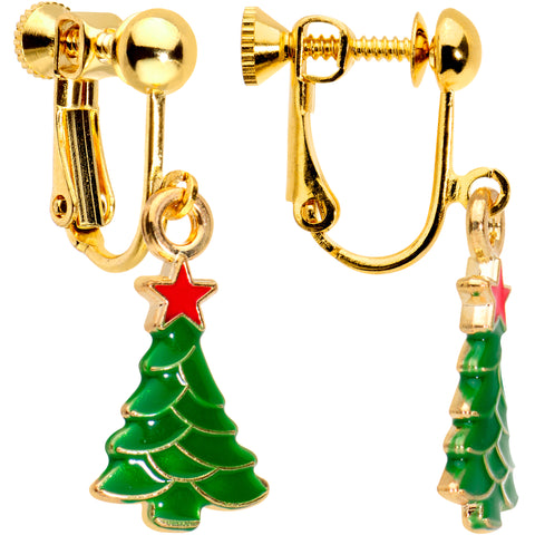 Gold Plated Christmas Tree Star Clip On Earrings