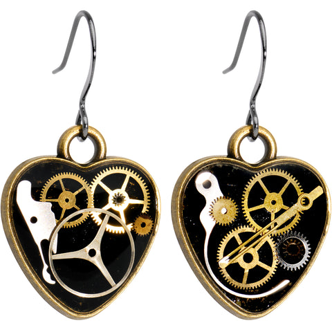 Handmade Steampunk Intricate Inlay Watch Gear Heart Fishhook Earrings