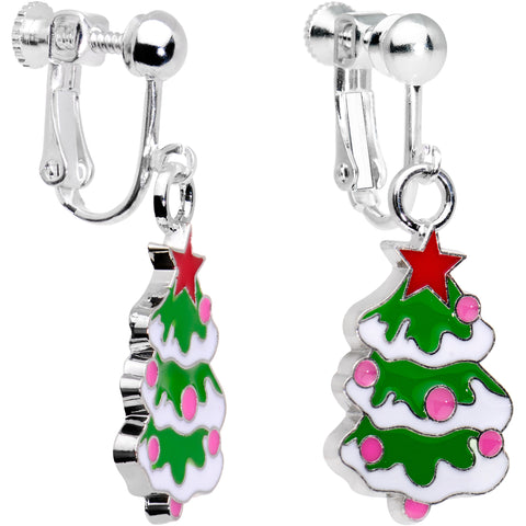 Silver Plated Snowy Christmas Tree Clip On Earrings