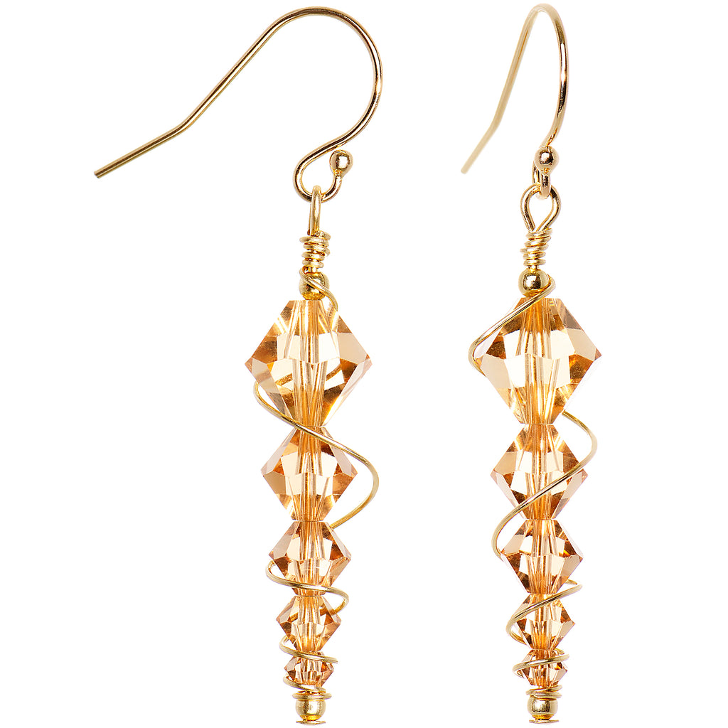 14k Yellow Gold Gleaming Icicle Earrings Made with Swarovski Crystals