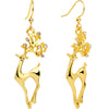 Clear CZ Gem Gold Plated Prancing Reindeer Fishhook Earrings