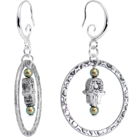 Handcrafted Encircled Hamsa Earrings Created with Swarovski Crystals