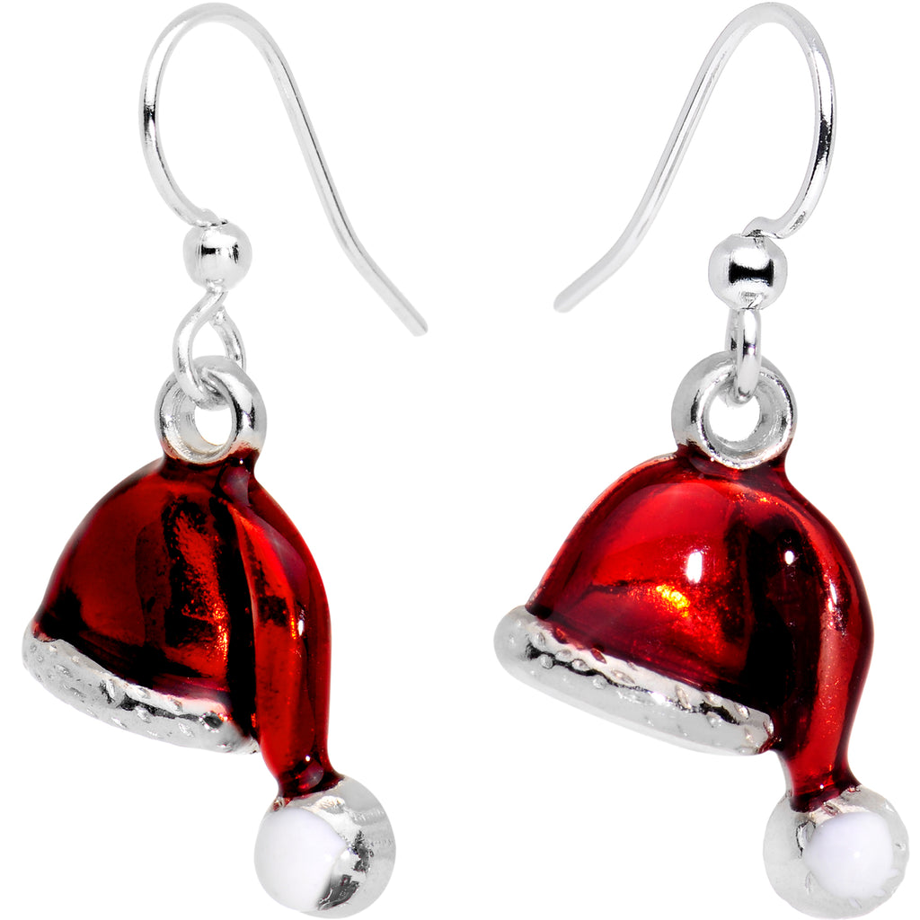 Silver Plated Red Santa Cap Christmas Fishhook Earrings