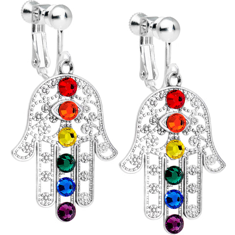 Blessing of the Chakras Clip Earrings Created with Swarovski Crystals