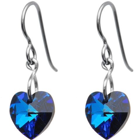 Titanium Vitrail Green Heart Earrings Created with Swarovski Crystals