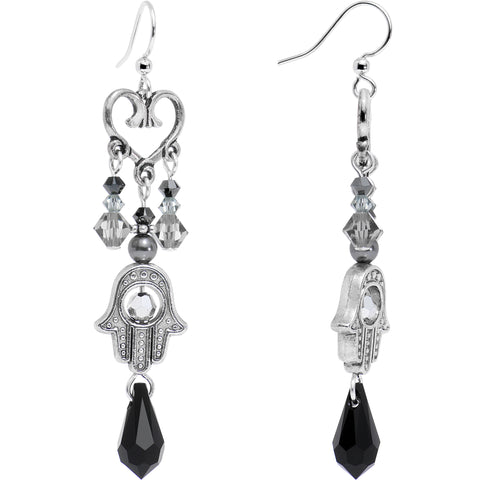 Handcrafted Black Hamsa Heart Earrings Created with Swarovski Crystals