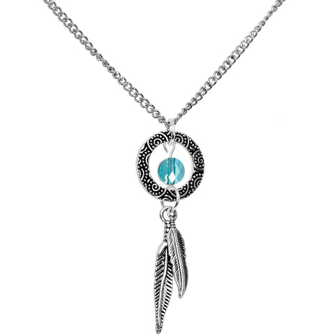 Handcrafted Dreamcatcher Necklace Created with Swarovski Crystals