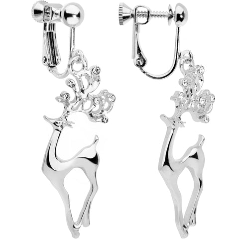 Clear CZ Gem Silver Plated Prancing Reindeer Clip On Earrings