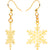 Gold Plated Holiday Snowflake Fishhook Earrings