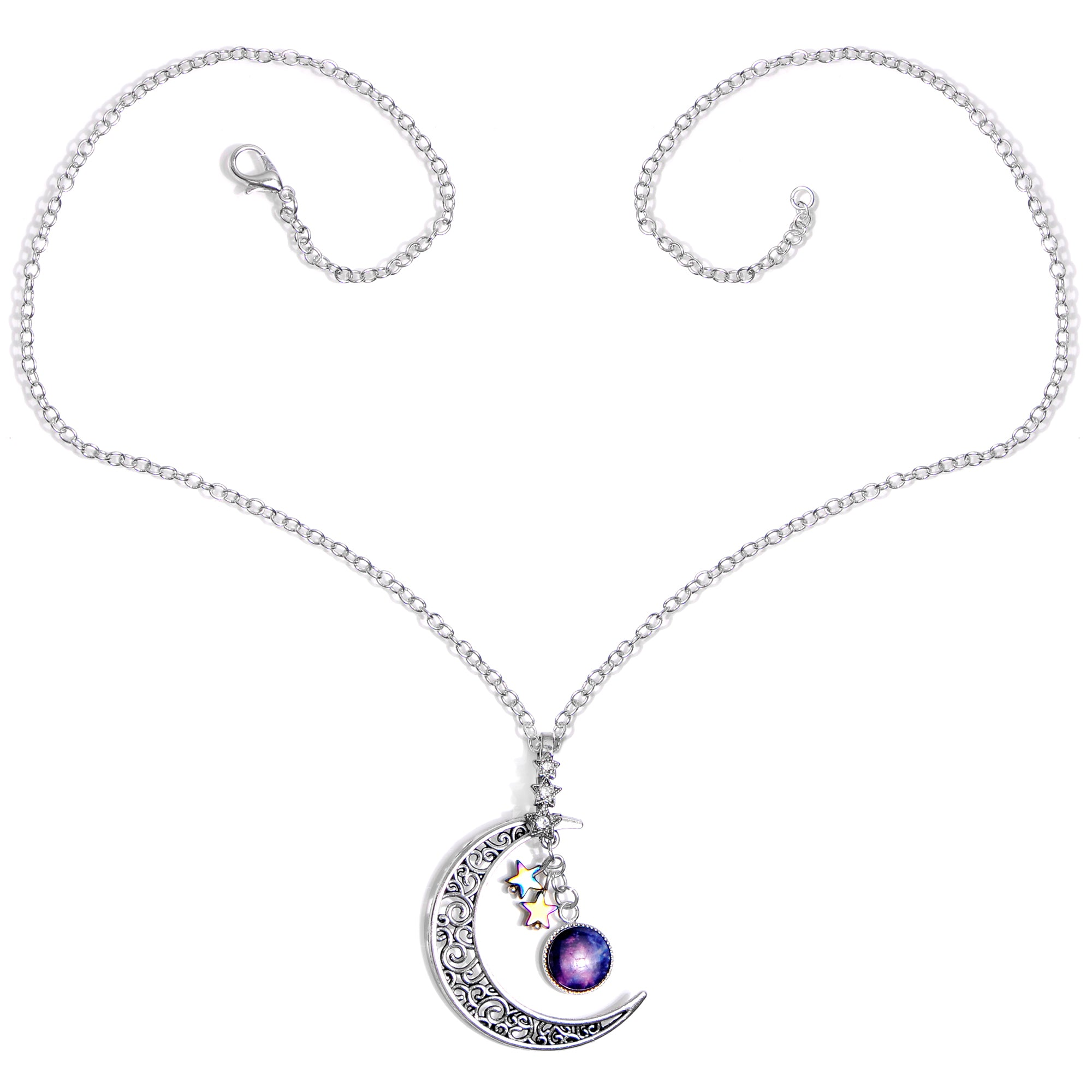 Handcrafted Purple Silver Plated Over the Moon Pendant Necklace