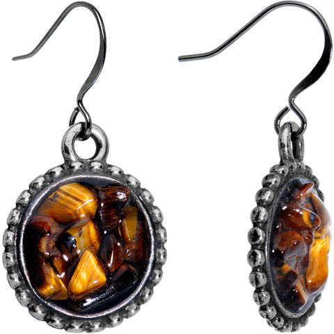 Handmade Tigers Eye Circular Frame Gunmetal Plated Fishhook Earrings
