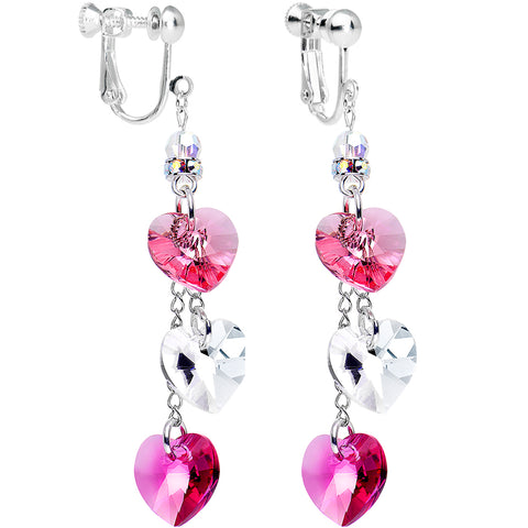 Rose Heart Drop Chain Clip On Earrings Created with Swarovski Crystals