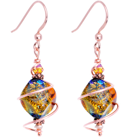 Autumn Dichroic Glass Dangle Earrings Created with Swarovski Crystals