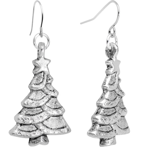 Silver Plated Winter Christmas Trees Fishhook Earrings