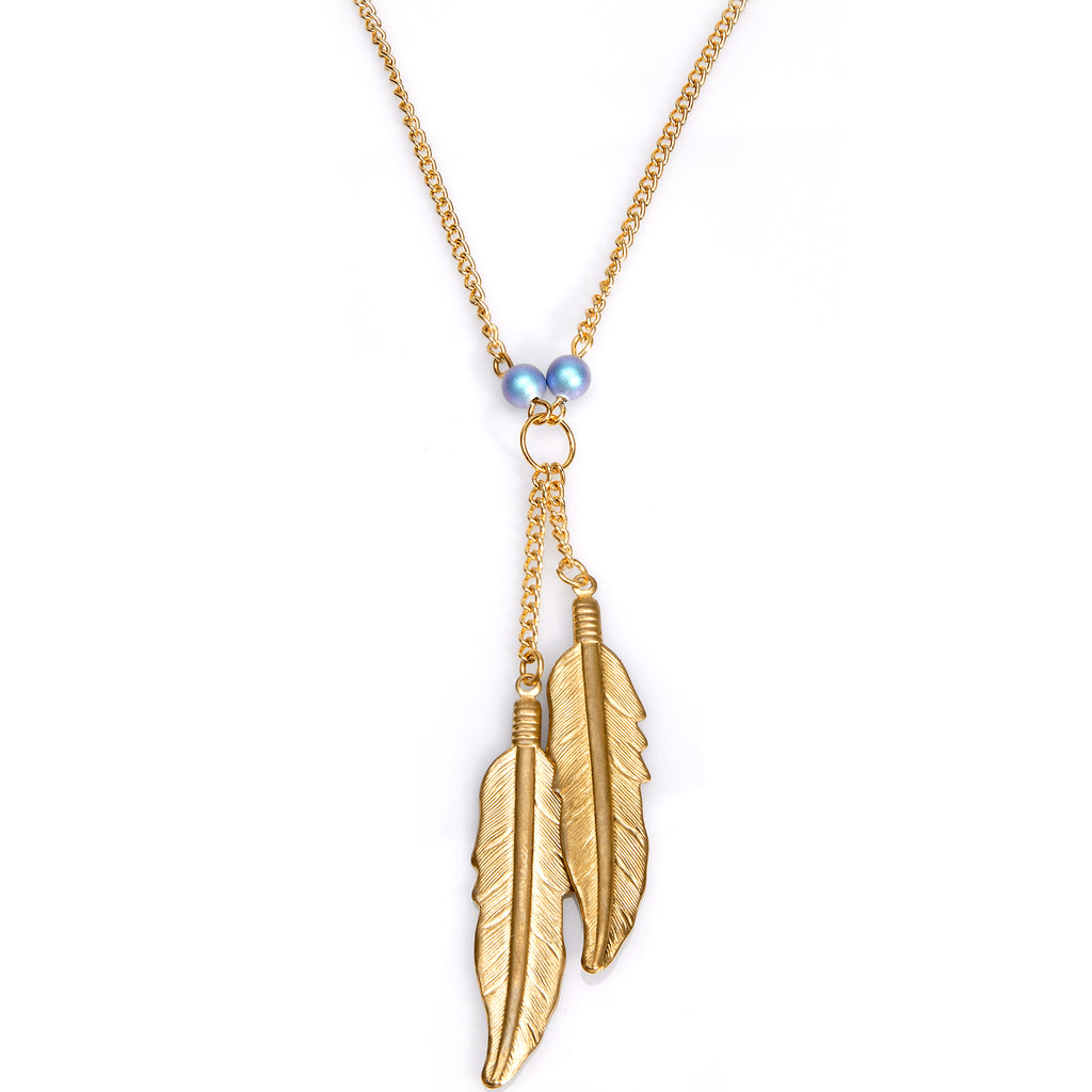 Feathery Gold Plated Chain Necklace Created with Swarovski Crystals