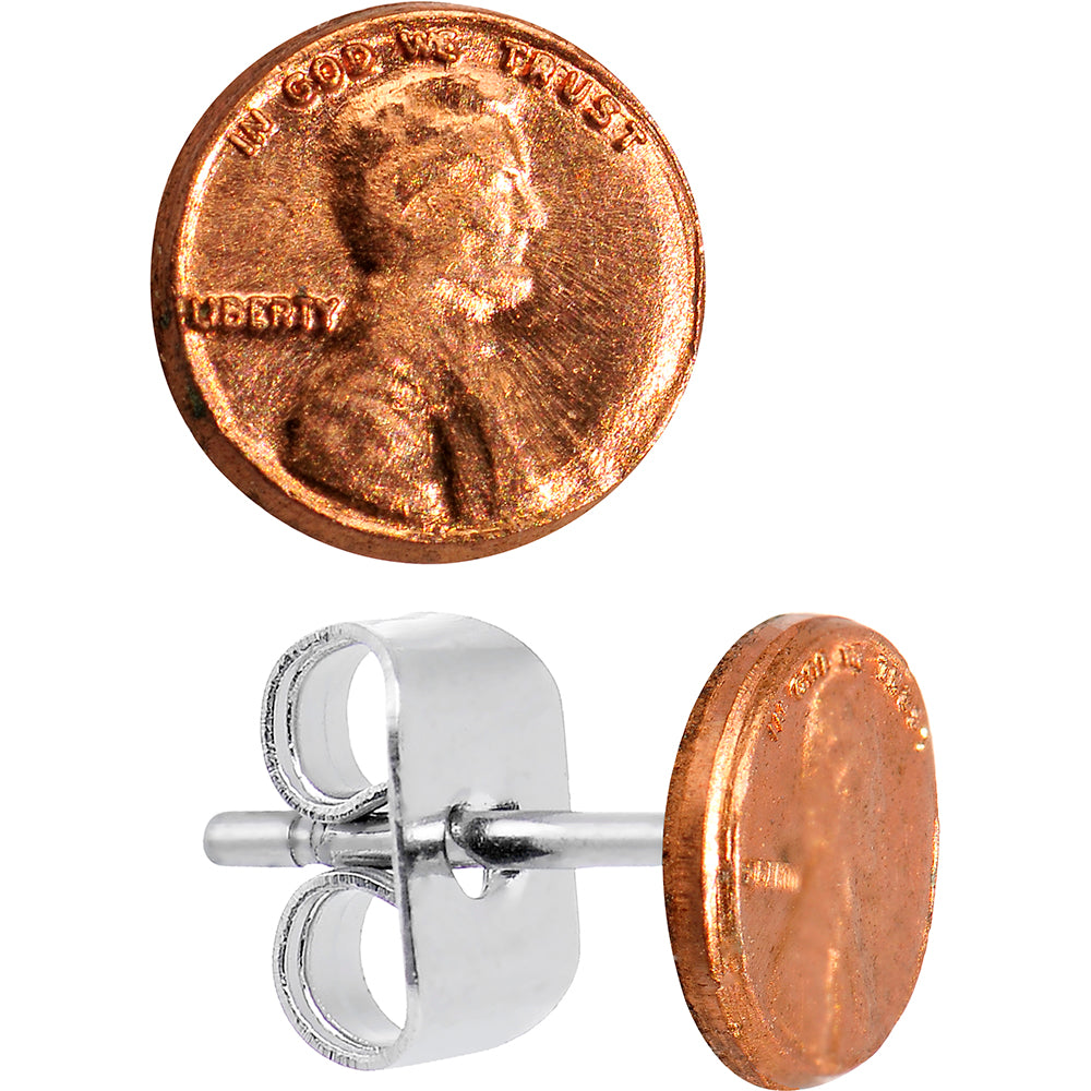 Miniature Copper Lucky Penny Stud Earrings