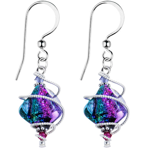 Handcrafted Silver Dichroic Earrings Created with Swarovski Crystals