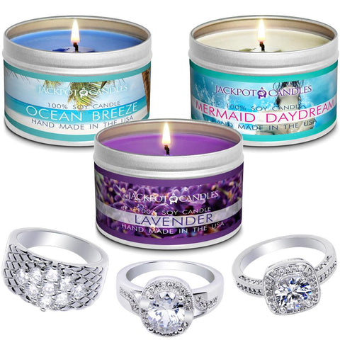 Relaxation 3-Pack Jewelry Ring Candle Travel Tin Gift Set