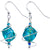Aqua Dichroic Glass Dangle Earrings Created with Swarovski Crystals