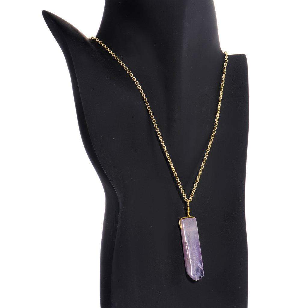 Handcrafted Natural Amethyst Crystal Gold Plated Chain Necklace