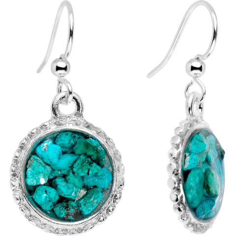 Handcrafted Turquoise Silver Plated Circular Frame Dangle Earrings
