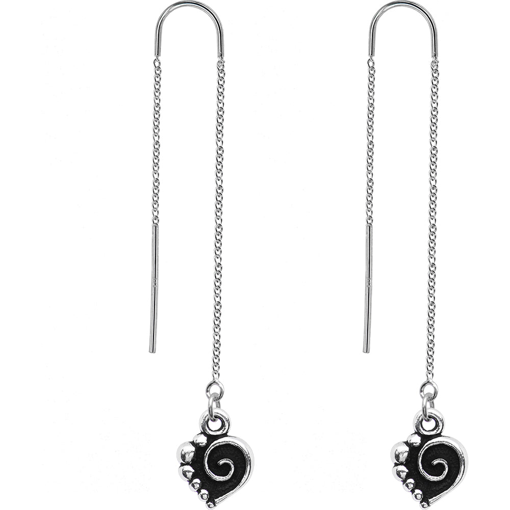 Handcrafted Silver Tone Spiral Heart Threader Earrings
