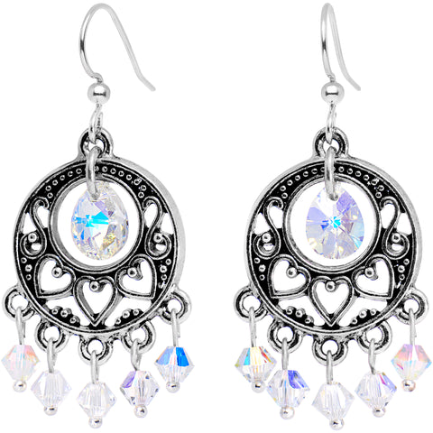 Aurora Silver Tone Chandelier Earrings Created with Swarovski Crystals
