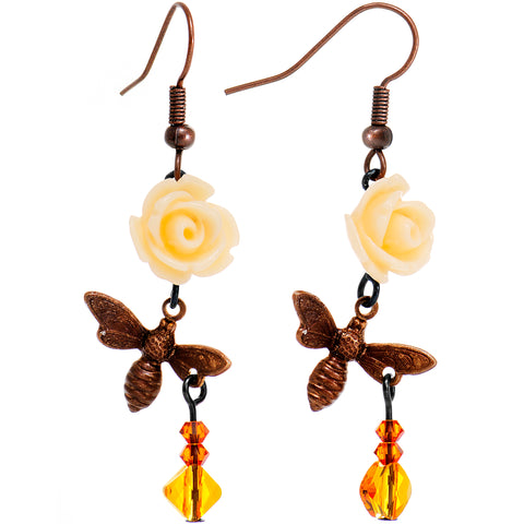 Pollinating Bumble Bee Dangle Earrings Created with Swarovski Crystals
