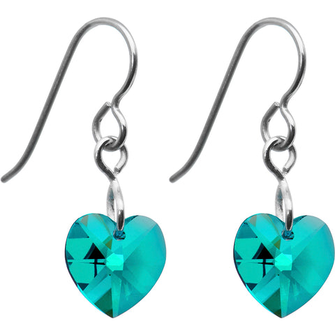Titanium Heart December Earrings Created with Swarovski Crystals