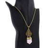 Handmade Rose Quartz Brass Plated Filigree Flourish Pendant Necklace