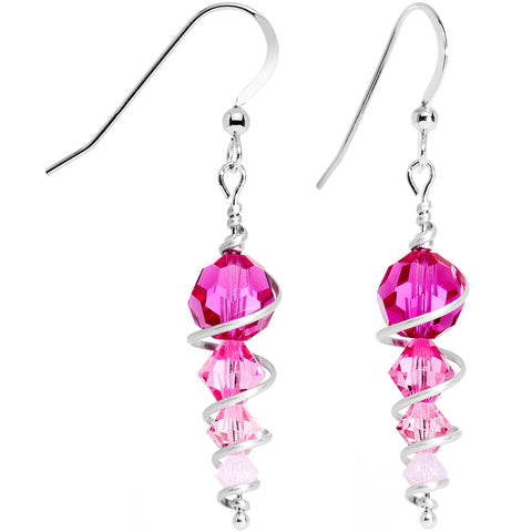 925 Silver Pink Icicle Drop Earrings Created with Swarovski Crystals