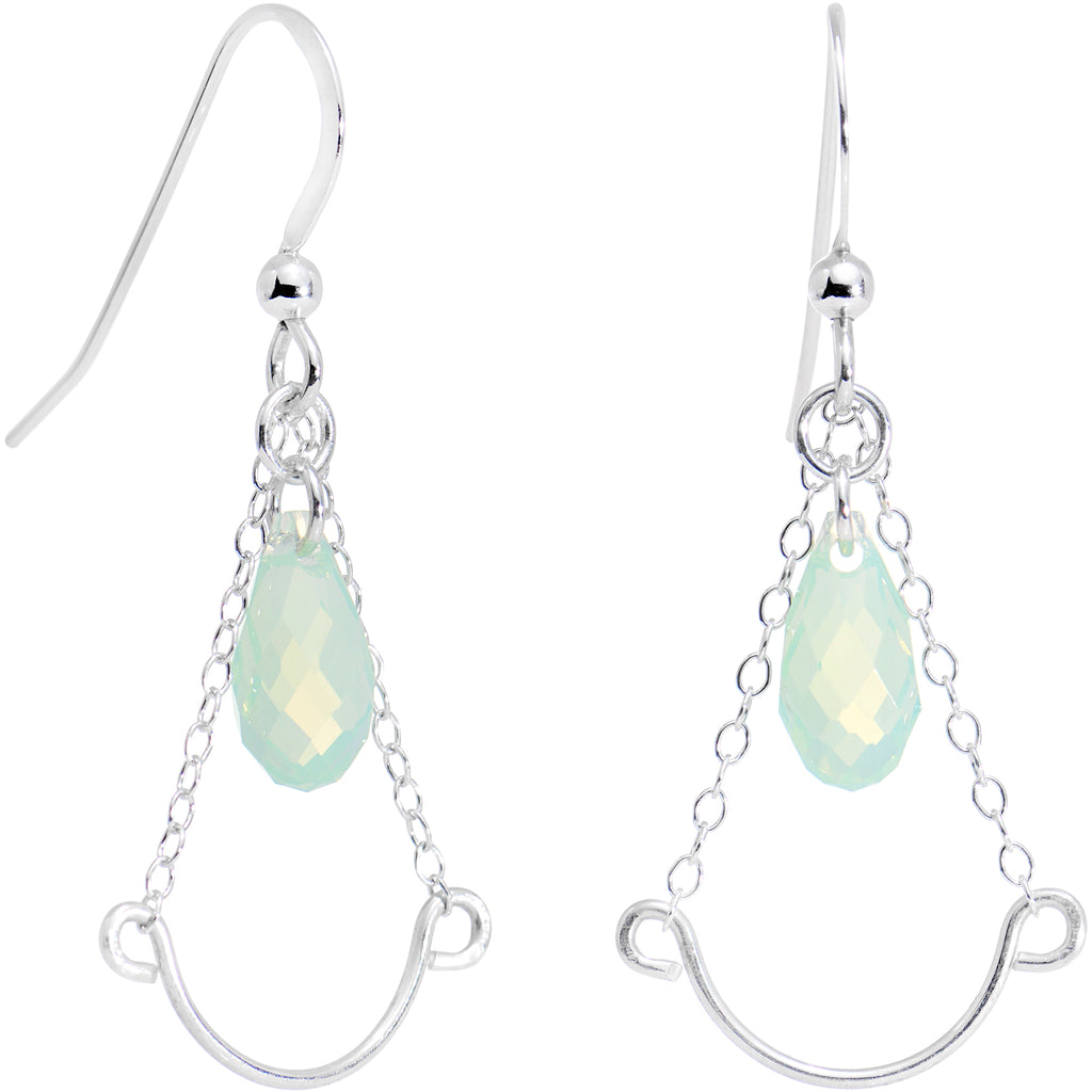 925 Silver Green Raindrop Earrings Created with Swarovski Crystals