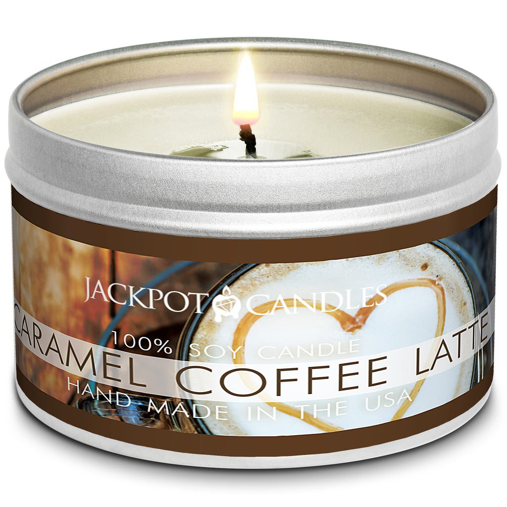 Caramel Coffee Latte Jewelry Candle Travel Tin