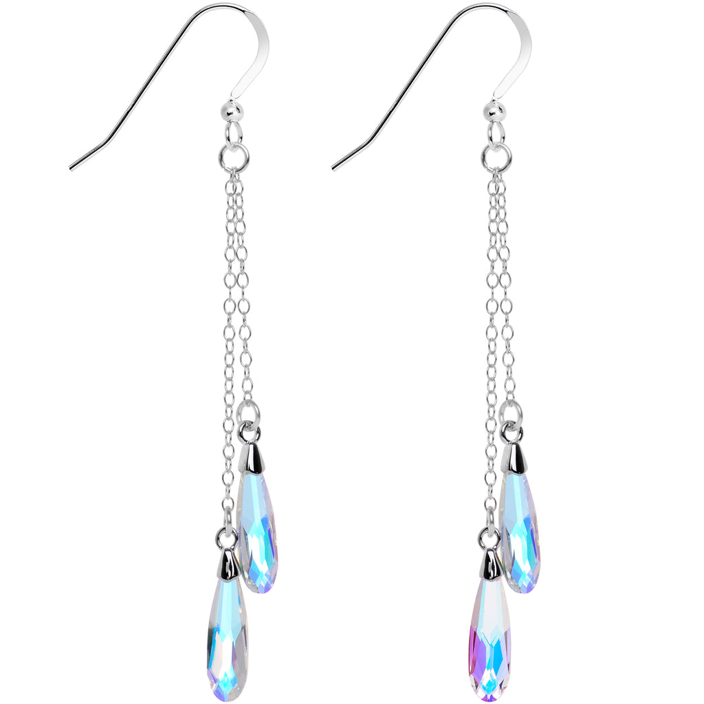 925 Silver Aurora Raindrop Earrings Created with Swarovski Crystals