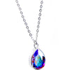 Silver Plated Purple Raindrop Necklace Created with Swarovski Crystals