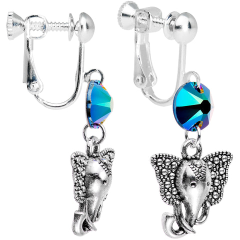 Aqua Elephant Clip On Dangle Earrings Created with Swarovski Crystals