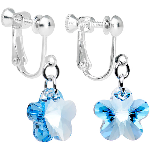 Blue Flower Clip On Earrings Created with Swarovski Crystals