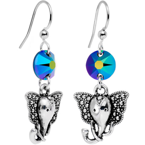 Handmade Aqua Elephant Dangle Earrings Created with Swarovski Crystals