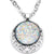 Handmade White Faux Opal Starry Universe Silver Plated Chain Necklace