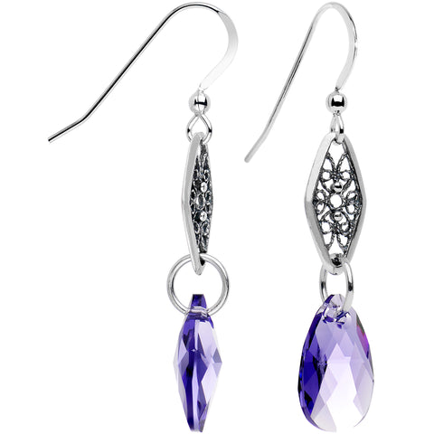 925 Silver Purple Fancy Link Earrings Created with Swarovski Crystals