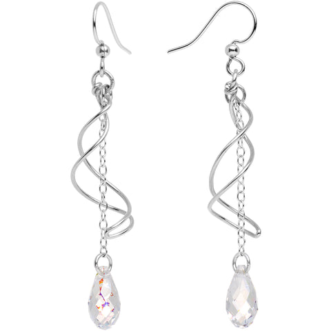 Handmade 925 Silver Swirl Earrings Created with Swarovski Crystals
