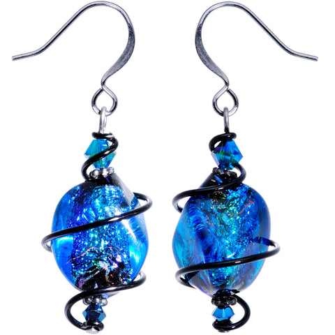 Handcrafted Blue Dichroic Earrings Created with Swarovski Crystals