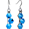 Blue Tri Pyramid Fishhook Earrings Created with Swarovski Crystals