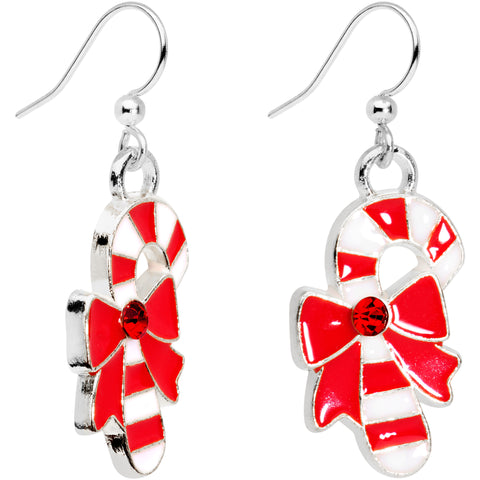 Red CZ Gem Silver Plated Bow Candy Cane Fishhook Earrings